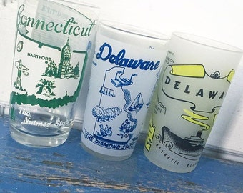 Vintage Souvenir State Glass, Connecticut, Delaware, Georgia, Idaho, Iowa, Drinking Glass