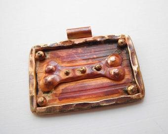 Copper Dog Bone Pendant Dog Lover Artisan Rustic Patina 34mm
