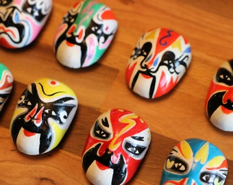 Chinese Opera Mask Magnet Set with 8 Painted Clay Masks