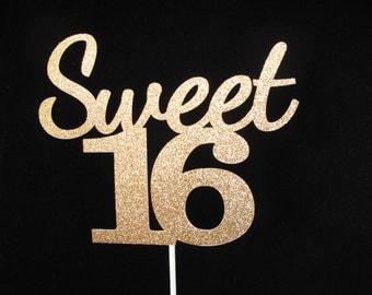 Sweet 16 Cake Topper, Sweet 16 Birthday, Sweet 16 Gold Glitter Cake Topper, 16th Birthday