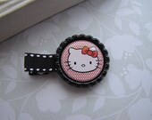 Hello Kitty . bottlecap clippies . girls hair accessory . black red