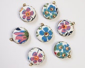 Liberty Fabric Charms 20mm Pink Blue Floral set of 7 Charms DIY Earrings, Necklace, DIY Jewelry, Bridesmaid set b