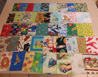 I Spy Cotton Charm Square 4 1/2 inch, Lot of 45, for Child's I Spy Quilt
