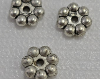 silver plated spacers, flower design 8mm - #1808