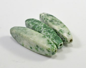 Green spot agate long tapered tubes, 10x40mm - #1562