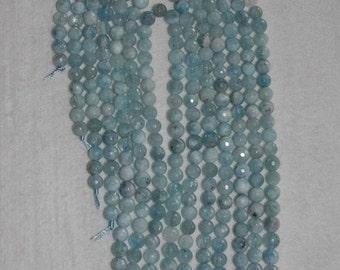 Aquamarine, Aquamarine Bead, Faceted Aquamarine, Natural Stone, Semi Precious Bead, Gemstone Bead, Sparkle, Full Strand, 7 mm