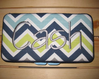 Travel Baby Wipe Case - Navy Blue Gray Lime Green White Chevron - Personalization Available