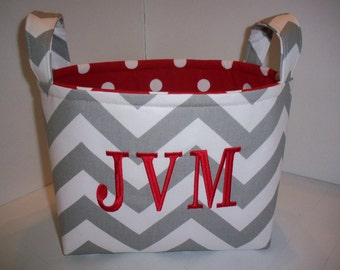 Grey Chevron Zig Zag Polka Dot Fabric Organizer Bin / Basket / Diaper Caddy