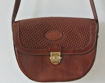 Vintage Brown Leather Satchel - Vintage Structured Leather Purse
