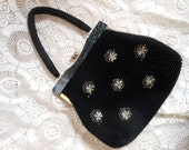Black Beaded Purse Lucite Frame Hong Kong Vintage by Quilted Nest