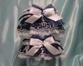 Dallas Cowboys Wedding Garter Set Navy on White