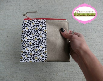 Zippered Wallet {Gold Leather & Ruched Heart Glitz}