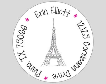 20 Paris // Eiffel Tower Personalized Address Labels or Gift Stickers