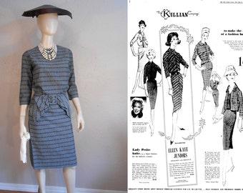 Fashion on a Budget Oh Please - Vintage 1950s Ellen Kaye Slate Blue Cotton Woven Wiggle Dress w/Large Bow  - 2/4
