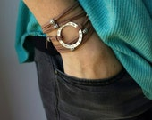 Infinity Circle Bracelet With Sliding Beads - Tie On Long Faux Leather Wrap Bracelet with Silver Ring