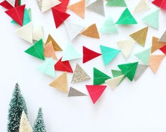 holiday felt and glitter triangle garland