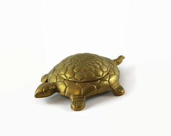 Brass Turtle Trinket Box, Turtle Figurine, Brass Home Decor, Trinket Dish