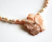 Pearl necklace with shell...