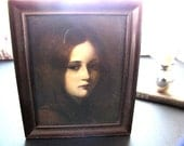 Antique Lithograph Framed Portrait Young Girl 1900s Artist Signed Georg Buchner from AllieEtCie