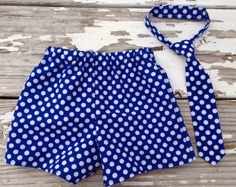 Cake Smash Outfit Boy, 1st Birthday Boy Outfit, Blue Polka Dot Cake Smash Outfit, Baby Boy Shorts, Baby Boxer Shorts, Boys Polka Dot Tie