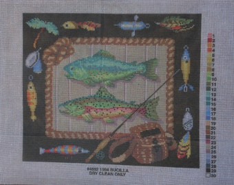 needlepoint canvas, Bucilla  fishing themed canvas, 12 by 14 inches .