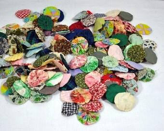 Large lot of yo yo quilt pieces for repurpose