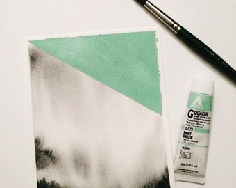 Abstract Watercolor Original Watercolor Painting Watercolor Abstract Landscape Painting Mint Small Art Misty Landscape black and white art