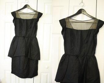 60s Cocktail Dress / Black Silk Chiffon Party Dress