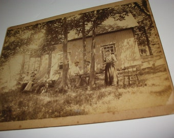 Antique Cabinet Photo Victorian Family At Cottage Old Group Portrait Summer House Hammock Milton Vermont