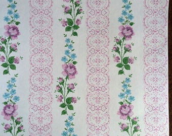 Vintage Wallpaper - Lavender Roses Blue Flowers on Cream  1940's - 1 Yard