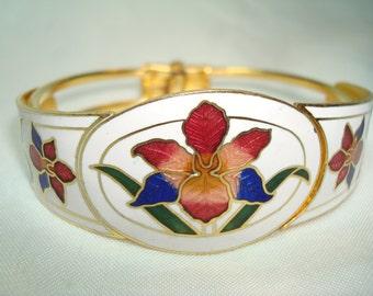 Vintage White Cloisonné with Irises Bracelet.