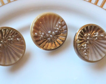 Antique Czech's Buttons, Beige, Caramel Color , Circa 1930's,  Button Jewelry, Rare,  Art Deco Button, Glass Buttons