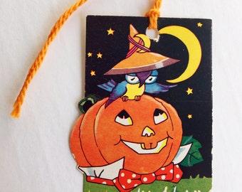 Vintage Halloween Bridge Tally Crescent Moon, Owl & JOL