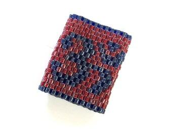 Om Dreadlock Bead - Sleeve For Medium  Dreads in Maroon and Purple - sharpie size