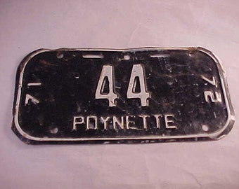 1971 - 1972 Poynette Wisconsin Bicycle License Plate