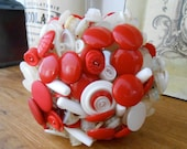 PEPPERMINT Vintage Red and White Button Posy Bouquet for Valentines Day Anniversary Mothers Day Gift or Retro Wedding Bouquet OOAK