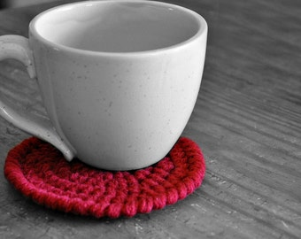 Red Coasters Modern Mug Rugs Home Decor Rustic Design Crocheted Accessories Custom Colors