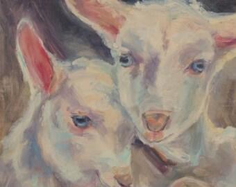 nursery art, lambs painting, country decor, sheep art, baby animal art, farm nursery, nursery animal art, inspirational, original oil animal