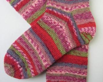 womens wool socks, UK 6-8 US 8-10, ladies hand knitted socks, red lilac green socks, knitted fun socks, gift for women, fairisle effect
