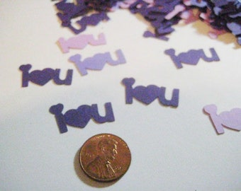 Assorted Purple I Heart You Table Scatter or Confetti (all colors available)