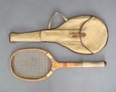 Vintage Wooden Tennis Racket in Original Canvas Case from England