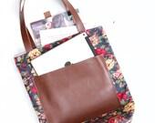 Red Roses Tote Bag, Floral Print Tote, Leather Bottom Bag, Market Bag