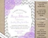 Lavender Baby Shower invitations, FREE SHIPPING, lavender grey dahlias, purple gray floral bridal shower invites, birthday party