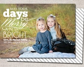 "Christmas card, Photo Christmas card, Holiday Card, Printable Christmas card, Modern Christmas card (""merry and bright"")"