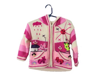 Vintage 80s Pink Folk Art Sweater - Kids 2T - Childrens Hooded - Sun Rain Cardigan