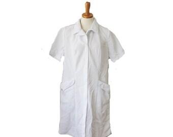 30% off sale // Vintage 60s White Shirt Dress - Women XL - Nurses Uniform, deadstock NOS nwt