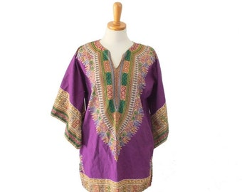 30% off sale // Vintage 70s Purple Dashiki Hippie Tunic // ethnic Boho // Women Medium, Men Small