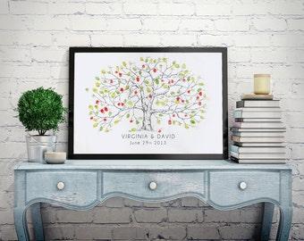 Wedding Guest Book Alternative, Fingerprint tree, Medium Apple Tree, Original Wedding Guest Book, thumbprint tree, Rustic Wedding