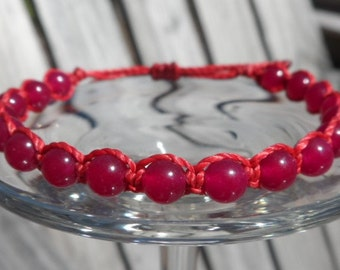 Red Aventurine Gemstone Beaded Knotting Cord Bracelet
