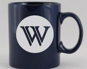 "Reserved Listing for Sharon 1 Ceramic coffee cups mugs Custom ""W"" Monogram Mug Etched, Engraved, Sandblasted"